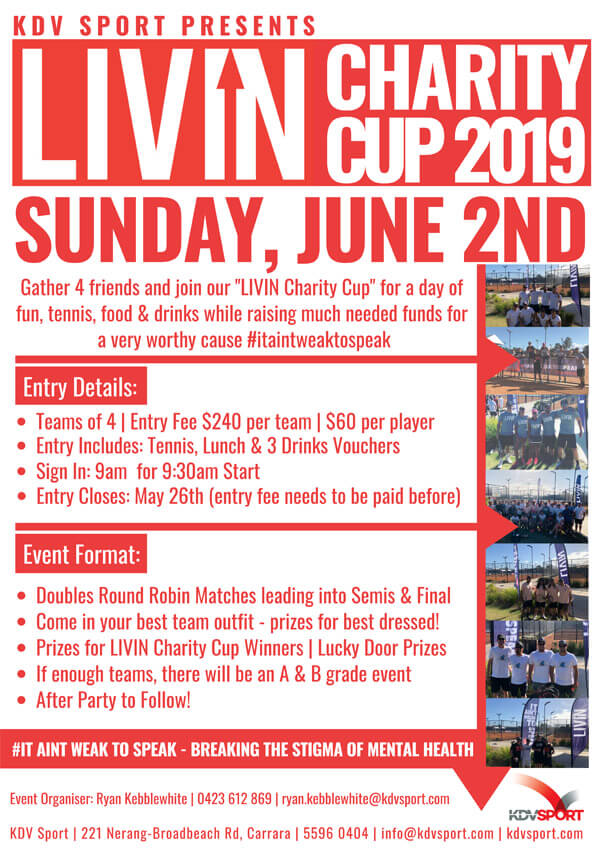 Livin Charity Cup Gold Coast 2019 Flyer Image