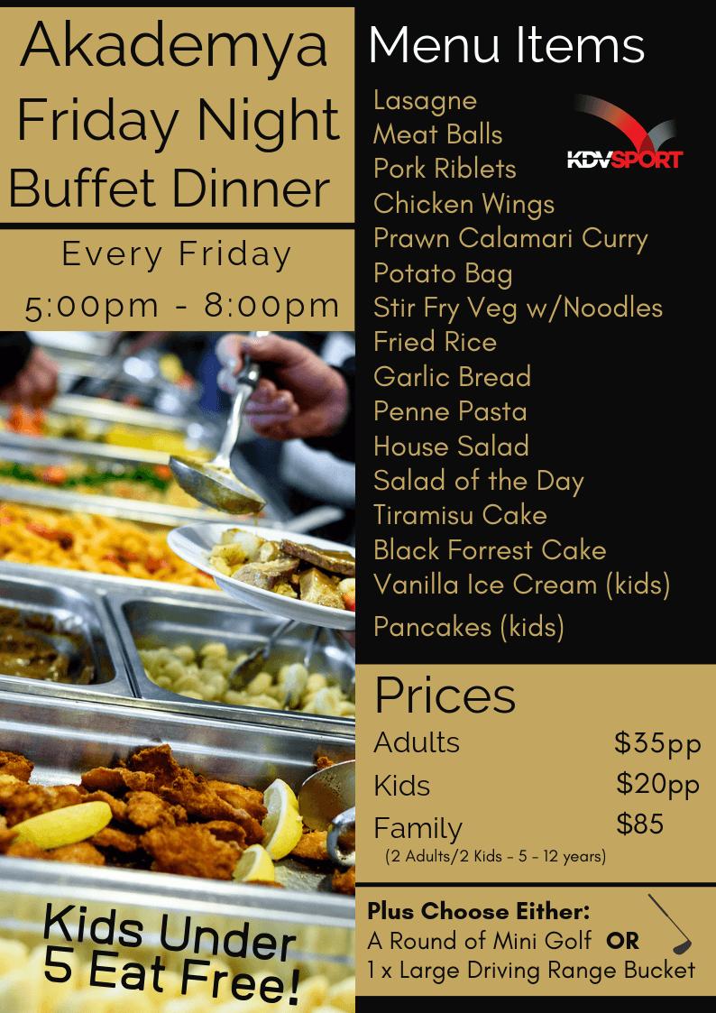 Buffet Dinner Gold Coast Menu