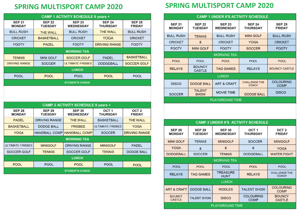 Spring Holiday Camp Schedule at KDV Sport