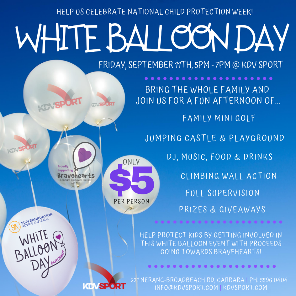 Bravehearts white balloon day at KDV Sport to celebrate national child protection week