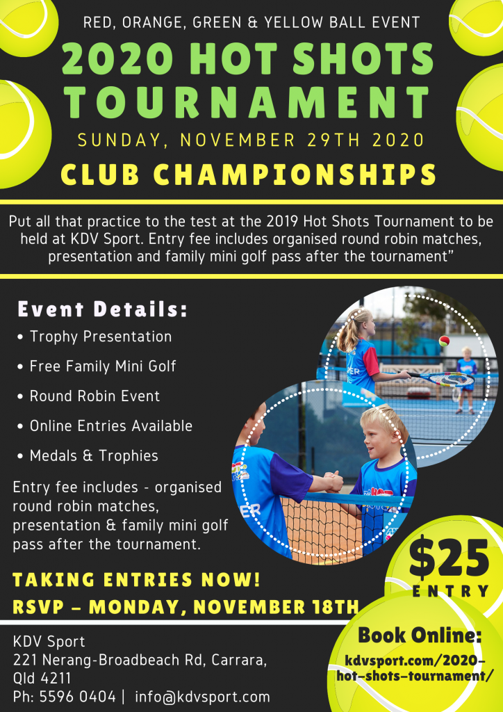 Hot Shots Club Championship event at KDV Sport